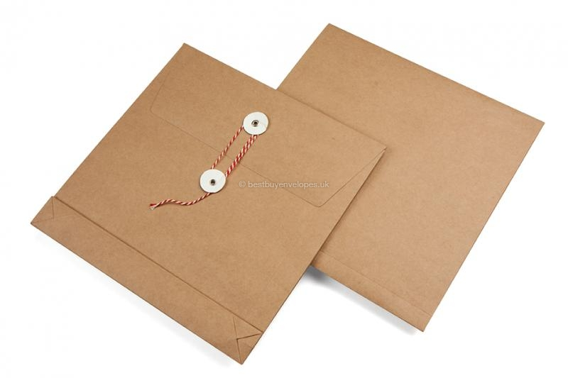 Square envelopes with string & washer closure