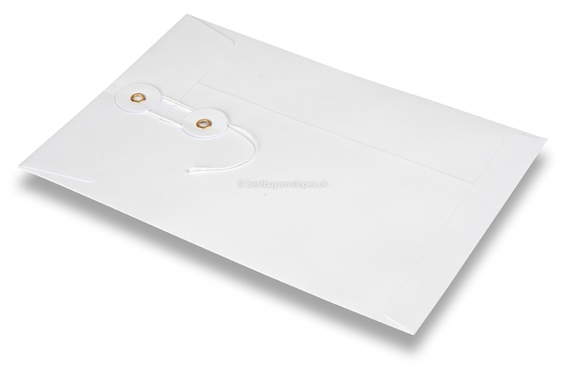Envelopes with string and washer closure - white