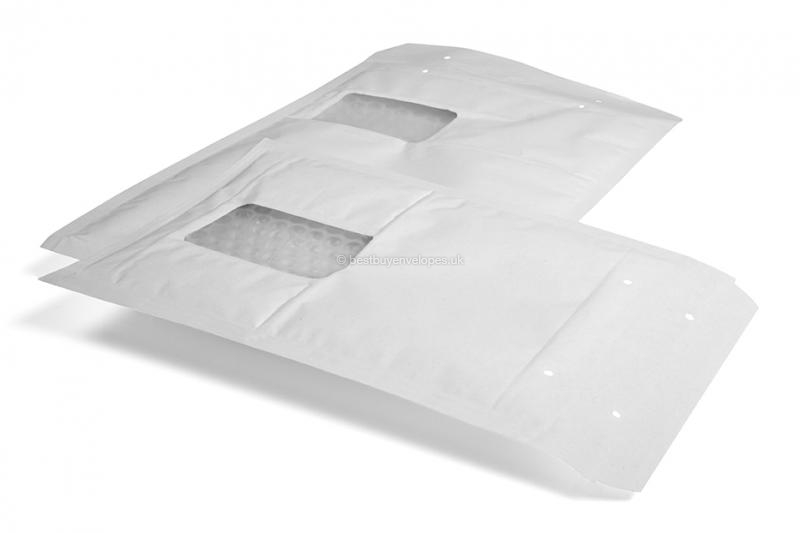 White air-cushioned envelopes with window