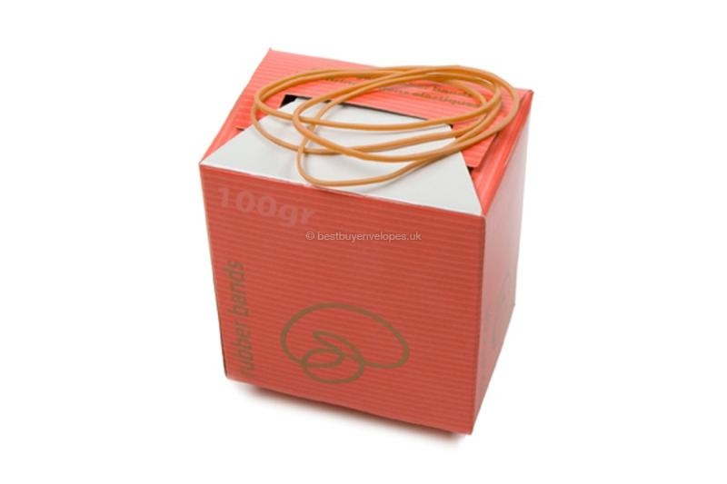 Elastic bands: Red box, contents 100 grams (illustration shows the narrow bands: 57 x 1.5mm)