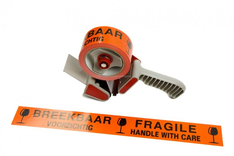 Orange tape - Fragile in tape dispenser