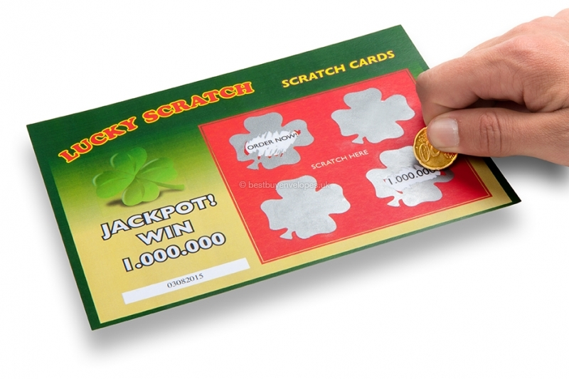 Scratch-off stickers clover - scratch off top layer with coin or fingernail