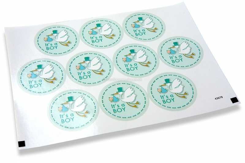 Birth envelope seals - it's a boy