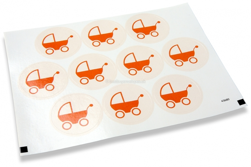 Birth envelope seals - baby stroller red