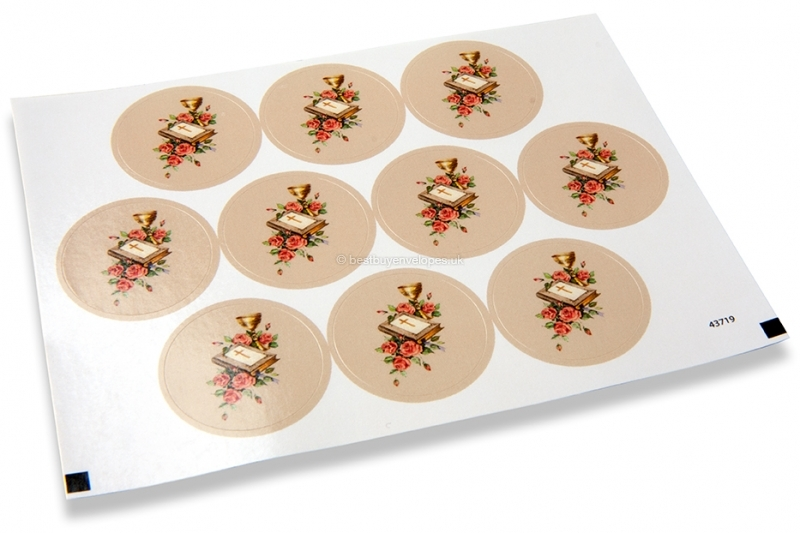 Baptism envelope seals - bible with roses