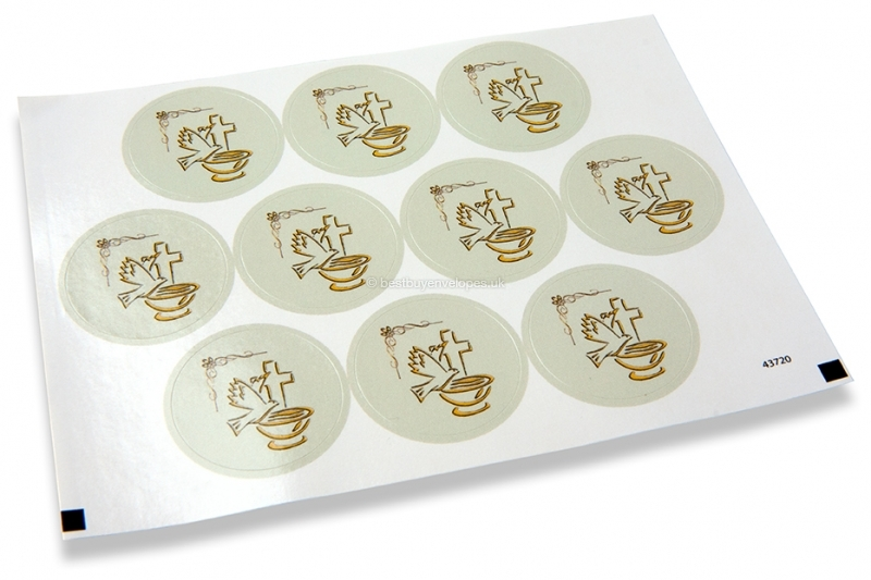 Baptism envelope seals - dove with cross gray
