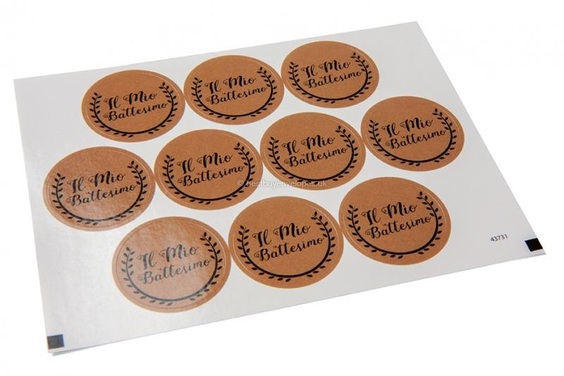 Baptism envelope seals - il mio battesimo brown with black wreath