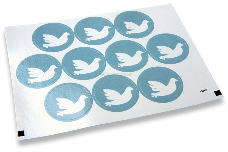 Baptism envelope seals - blue with white dove