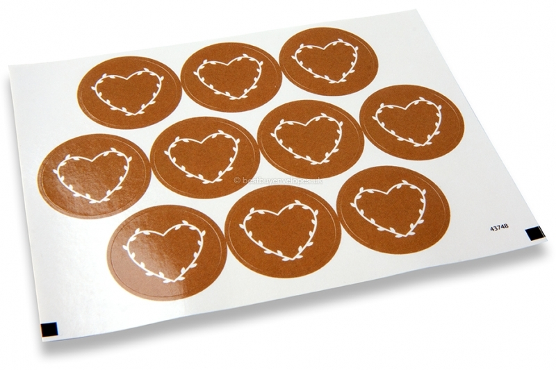 Love envelope seals - brown with white heart with leaves
