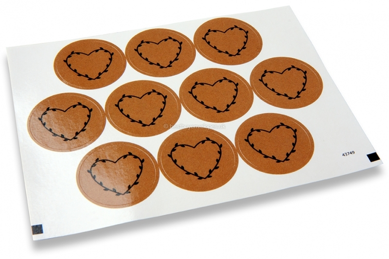 Love envelope seals - brown with black heart with leaves