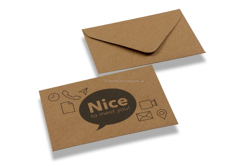 Looking to order patterned business card envelopes online patterned business card envelopes nice to meet you brown kraft reheart Image collections
